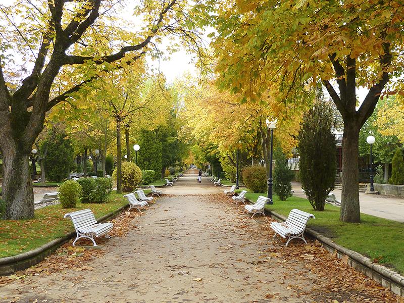 Vistas de la Alameda de Cervantes, parque en el centro de Soria