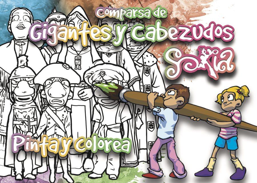 El Ayuntamiento edita recortables y juegos de pintar para repartir durante los desfiles de la Comparsa de Gigantes y Cabezudos