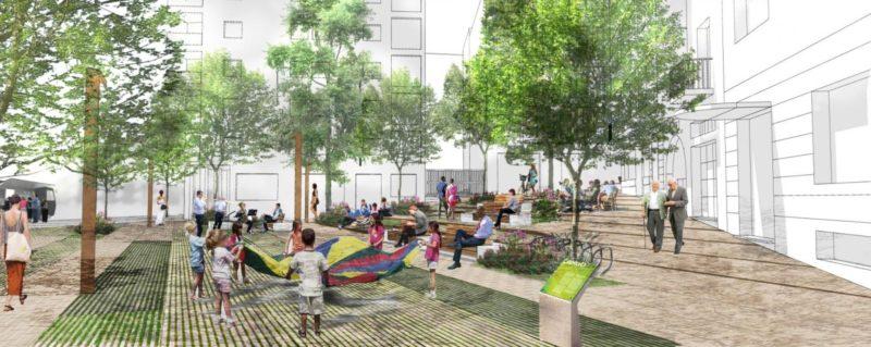 Los 1.200 metros de la plaza de Las Concepciones son ya una realidad con los últimos trabajos de jardinería para su apertura en mayo